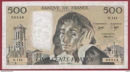"""500 Francs """"Pascal"""" Du 02/07/1981.C ----F/TTB+--ALPH.O.144 - 1962-1997 ''Francs''"""