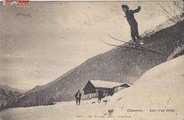 74 CHAMONIX MONT BLANC SPORTS HIVER SAUT D UN SKIEUR CACHET FERROVIAIRE CHAMONIX LE FAYET  Editeur : TAIRRAZ N° 625 - Chamonix-Mont-Blanc