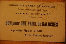 Rationnement - Bon Pour Une Paire De Galoche Orleans Loiret - Documentos Históricos