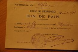 Bureau De Bienfaisance Villebarou / Bon De Pain - Documenti Storici