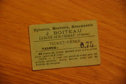 Bon D'epicerie J. Boiteau Vienne Leigné Sur Usseau / Ticket Prime - Historische Documenten