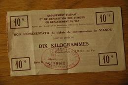 Rationnement - Bon De Viande Girpia Var - Historical Documents
