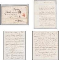 LAC Lettre France 0589 Paris Marque Postale TTB N°1008 Grande Poste 1812 Saint-Affrique Aveyron En Rouge Cachet De Cire - 1801-1848: Precursori XIX