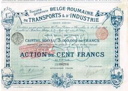 Titre Ancien - Société Générale Belge-Roumaine De Transports & D'Industrie - Société Anonyme -Titre De 1898 -  Déco - Transports