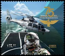 2018 MÉXICO 75 Aniv. De La Escuela De Aviación Naval MNH 75th Anniv Of The Naval Aviation School, NAVY HELICOPTER EAGLE - Mexico