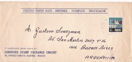 1940'S COMMERCIAL COVER: CHRISVVIES STAMP EXCHANGE CIRCUIT. CIRCULEE MALTA TO ARGENTINE - BLEUP - Malte