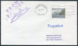 1977 Faroe Islands, Bergen Norway Paquebot Ship Cover. Smyril - Faroe Islands