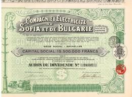 Titre Ancien - Compagnie D'Electricité De Sofia Et De Bulgarie- Société Anonyme -Titre De 1926 - - Electricité & Gaz