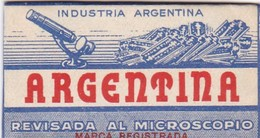 ARGENTINA, REVISADA AL MICROSCOPIO. RAZOR BLADE LAME DE RAISOR HOJA DE AFEITAR. CIRCA 1930s - BLEUP - Lames De Rasoir