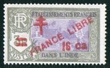INDE ßurcharge «Croix De Lorraine Et FRANCE LIBRE»  16 Ca Sur 3R Maury  255  ** - Indien (1892-1954)