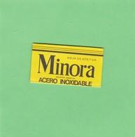 MINORA, ACERO INOXIDABLE. INDUSTRIA ARGENTINA. CIRCA 1940'S. RAZOR BLADE LAME DE RAISOR HOJA DE AFEITAR - BLEUP - Lames De Rasoir