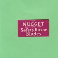 NEW NUGGET  SAFETY RAZOR BLADES- CIRCA 1940'S. RAZOR BLADE LAME DE RAISOR HOJA DE AFEITAR - BLEUP - Lames De Rasoir