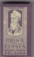 BOINA BLANCA. PAQUETE 6 HOJAS INDUSTRIA ARGENTINA- CIRCA 1940'S. RAZOR BLADE LAME DE RAISOR HOJA DE AFEITAR - BLEUP - Scheermesjes