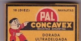 PAL CONCAVEZ. PAQUETE 10 HOJAS INDUSTRIA ARGENTINA- CIRCA 1940'S. RAZOR BLADE LAME DE RAISOR HOJA DE AFEITAR - BLEUP - Scheermesjes