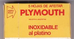 PLYMOUTH. PAQUETE 5 HOJAS INDUSTRIA ARGENTINA- CIRCA 1940'S. RAZOR BLADE LAME DE RAISOR HOJA DE AFEITAR - BLEUP - Lames De Rasoir