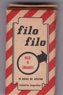 FILO FILO. PAQUETE 10 HOJAS INDUSTRIA ARGENTINA- CIRCA 1940'S. RAZOR BLADE LAME DE RAISOR HOJA DE AFEITAR - BLEUP - Lames De Rasoir