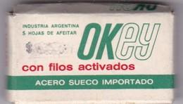 OKEY FILO ACTIVAD. PAQUETE 5 HOJAS INDUSTRIA ARGENTINA- CIRCA 1940'S. RAZOR BLADE LAME DE RAISOR HOJA DE AFEITAR - BLEUP - Scheermesjes