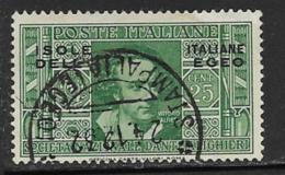 Italian Aegean Scott # 22 Used Italy Dante Issue Overprinted, 1932 - Aegean