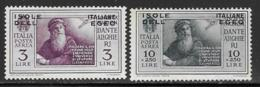 Italian Aegean Scott # C10,C13 Mint Hinged Italy Dante Issue Overprinted, 1932 - Aegean