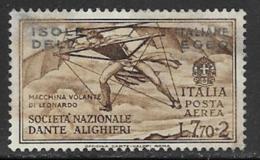 Italian Aegean Scott # C12 Mint Hinged Italy Dante Issue Overprinted, 1932, Black Smear On Face - Aegean