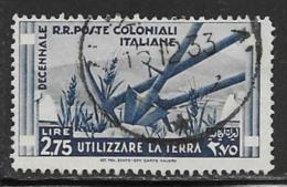 Italian Colonies Scott # 38 Used Agriculture Implements, 1933, CV$32.00 - Italy