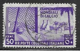 Italian Colonies Scott # 47 Used Soccer Goal, 1934, CV$32.00 - Italy