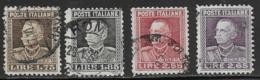 Italy Scott # 193-6 Used Victor Emmanuel Lll, 1927-9, CV$82.30 - 1900-44 Vittorio Emanuele III