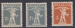 HELVETIA - SUISSE - SVIZZERA - Lotto Di 3 Valori Nuovi MH: Yvert 158, 160 E 160a. - Nuovi