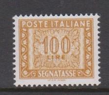 Italy  PD 122 1991 Postage Due 100 Lire Ochre ,mint Never  Hinged - 1946-.. République