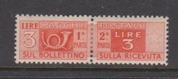 Italy PP 70 1946-51 Parcel Post 3l Orange,mint  Hinged - 6. 1946-.. Republic