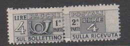 Italy PP 71 1946-51 Parcel Post 4l Grey Mint  Hinged - 6. 1946-.. Republic