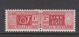 Italy PP 92 1955-79 Parcel Post 140 Lire Carmine,mint  Hinged - 6. 1946-.. Republic