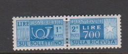 Italy PP 100 1955-79 Parcel Post  700 Lire Azur,mint  Hinged - 6. 1946-.. Republic