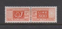Italy PP 101 1955-79 Parcel Post  800 Lire Orange Brown,mint  Hinged - Segnatasse