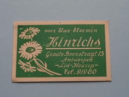 Voor Uwe Bloemen HINRICHS Groote BEERSTRAAT 13 Antwerpen ( Lid Fleurop ) Tel 91980 ( Zie Foto's Voor Detail ) ! - B. Blumenpflanzen Und Blumen