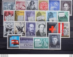 Année Complète 22 Timbres Neuf Autriche 1965 - Años Completos