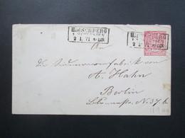 Altdeutschland NDP 1871 GA Umschlag U1 Aa Stempel Ra3 Hirschberg In Schlesien Nach Berlin - Norddeutscher Postbezirk
