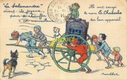 Publicité, Belle Carte Illustrée Par Poulbot Pour Le Poele Salamandre Chaboche - Publicité