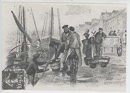 Images D'autrefois : Débarquement Du Poisson (cp Vierge éd Artaud) Gravure, Dessin - Fishing