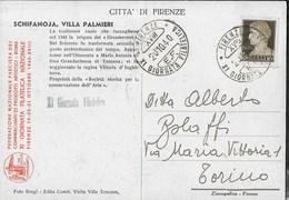 ANNULLO SPECIALE - FIRENZE - XI GIORNATA FILATELICA - 20.10.1940 SU CARTOLINA VILLA PALMIERI SCHIFANOJA - Giornata Del Francobollo