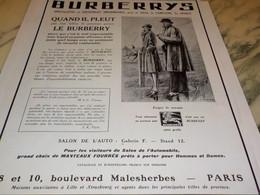 ANCIENNE PUBLICITE L APPEL DE LA ROUTE  BURBERRYS 1929 - Patterns