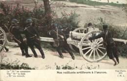 GUERRE 14-18 -  LE 75 EN CAMPAGNE - NOS VAILLANTS ARTILLEURS A L'OEUVRE - Guerra 1914-18