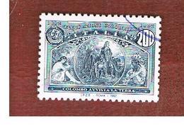 ITALIA REPUBBLICA  - UN. 2021  -  1992  GENOVA 92:  AMERICA DISCOVERY (COLOMBO AVVISTA TERRA)  DA BF   - USATO - 6. 1946-.. Repubblica