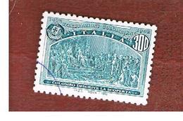 ITALIA REPUBBLICA  - UN. 2022  -  1992  GENOVA 92:  AMERICA DISCOVERY (DESCRIZIONE DELLA SCOPERTA)  DA BF   - USATO - 6. 1946-.. Repubblica