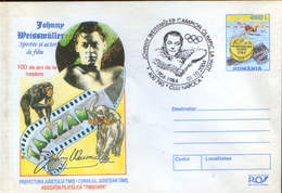 Romania - Stationery Cover 2004 - Johnny Weissmuller, 100 Years From Birth, Winner Of 5 Olympic Gold Medals At Swimming - Summer 1924: Paris