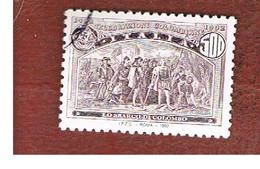 ITALIA REPUBBLICA  - UN. 2024  -  1992  GENOVA 92:  AMERICA DISCOVERY (LO SBARCO DI COLOMBO )  DA BF   - USATO - 6. 1946-.. Repubblica