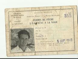 RARE CARTE DE PECHE  A LA FOENE A LA NAGE 1949 - Fishing