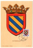 HERALDIQUE = 58 NEVERS 1954 = CARTE MAXIMUM + CACHET PREMIER JOUR N° 1001 ARMOIRIES NIVERNAIS - 1950-59