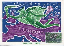 Monaco. Carte Maximum. Poste Aérienne. Europa 1962 - Cartes-Maximum (CM)