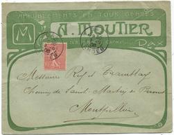 SEMEUSE 10C LIGNEE LETTRE ENTETE AMEUBLEMENT EN TOUS GENRES DAX LANDES 1906 - Marcophilie (Lettres)